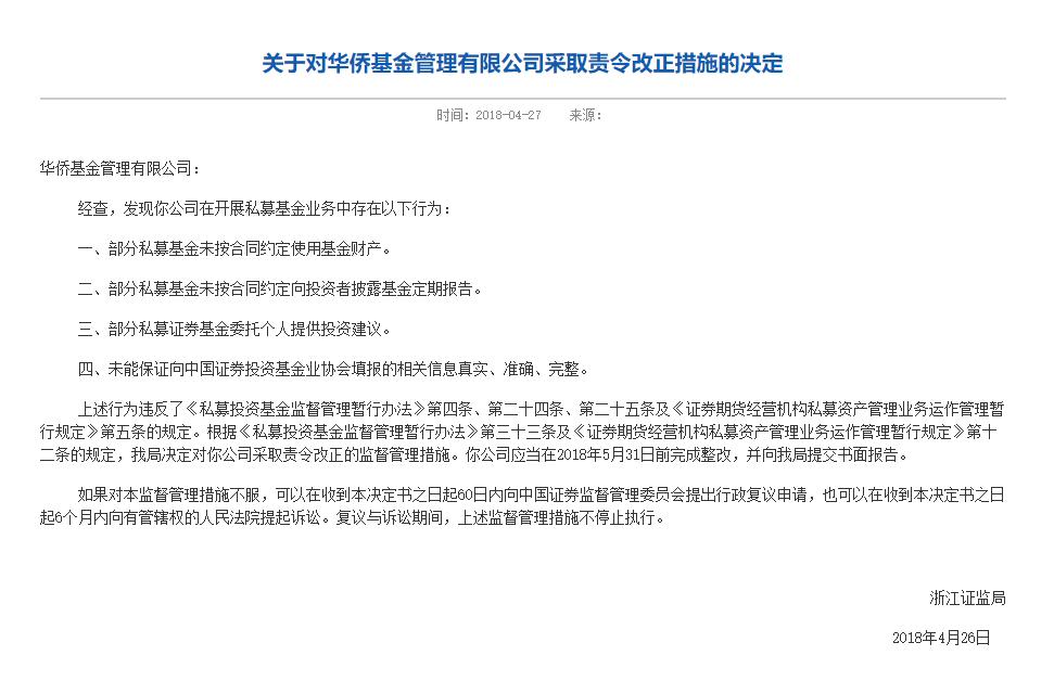 """华侨基金被浙江省证监局责令整改后 """"检讨"""